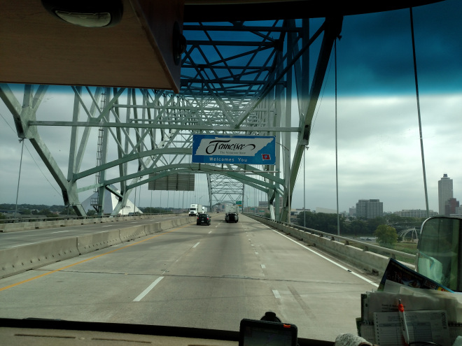 Over the Mississippi River into Memphis, Tennessee.